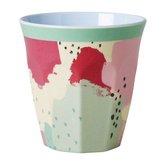 Rice Melamine Medium Cup Two Tone with Splash Print Multi