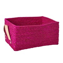 Rice Rectangular Raffia Basket with Leather Handles Fuchsia Fuchsia
