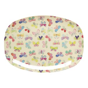 Rice Butterfly Print Melamine Plate