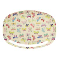 RICE A/S Rectangular Melamine Plate with Butterfly Print Multi