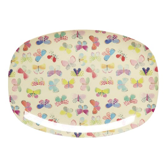 Rice Butterfly Print Melamine Plate Multi