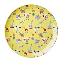 RICE A/S Melamine Lunch Plate Yellow Circus Print Circus Print Yellow
