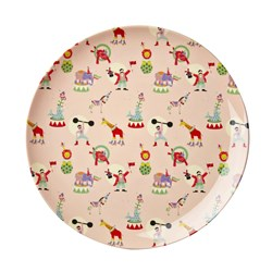 Rice Melamine Lunch Plate Soft Pink Circus Print