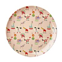 RICE A/S Melamine Lunch Plate Soft Pink Circus Print Circus Print -Soft Pink