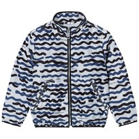 Burberry White and Navy Charlton Wave Print Blouson Jacket Bright Navy