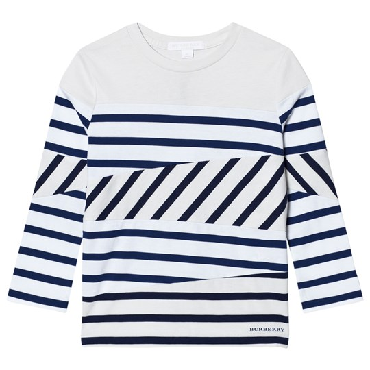 Burberry White and Navy Stripe Vincent Long Sleeve Tee Navy