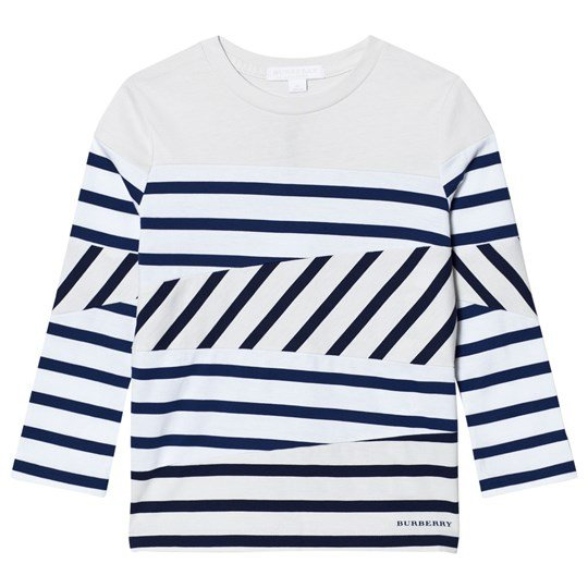 Burberry White and Navy Stripe Vincent Long Sleeve Tee Laivastonsininen