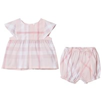Burberry Pale Pink Check Gerty Frill Top and Bloomers Set Ice Pink