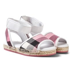 Burberry Leather Ankle Strap and House Check Espadrille Sandals Rose Pink