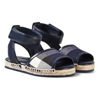 Burberry Leather Ankle Strap and House Check Espadrille Sandaler Bright Sapphire Indigo Blue