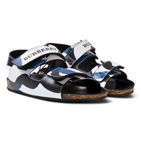 Burberry Navy and White Wave Print Rangor Sandals OPTIC WHITE