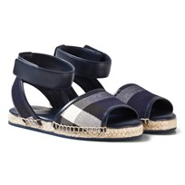 Burberry Leather Ankle Strap and House Check Espadrille Sandals Bright Sapphire Indigo Blue