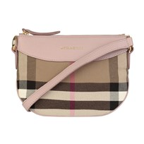 Burberry House Check and Leather Crossbody Bag Pale Orchid Pale Orchid