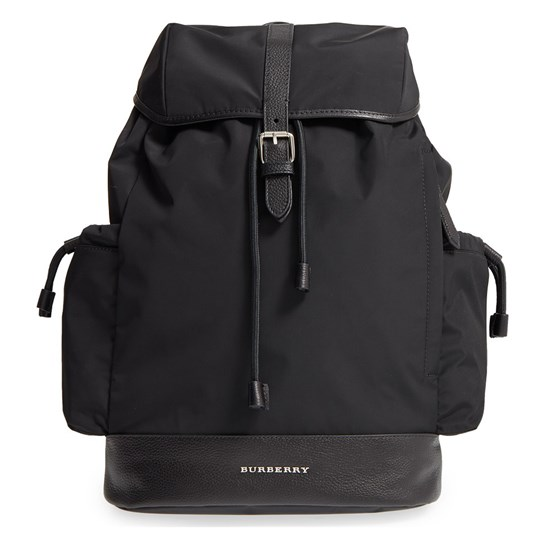 Burberry Black Nylon Changing Backpack with Changing Mat Black