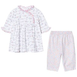 Kissy Kissy White and Pink Dachshund Print Dress and Print Legging Set