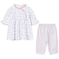 Kissy Kissy White and Pink Dachshund Print Dress and Print Legging Set PK
