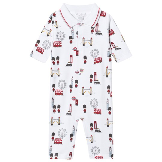 Kissy Kissy White London Landmarks Baby One-Piece with Collar WH