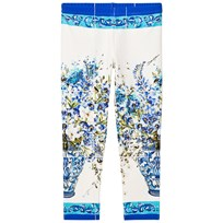 Dolce & Gabbana White and Blue Floral Leggings HAD10
