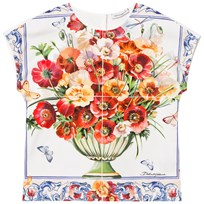 Dolce & Gabbana White and Pink Floral Print Jersey and Poplin Top HAD23