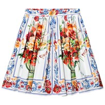 Dolce & Gabbana White and Pink Floral Print Skirt HAD23