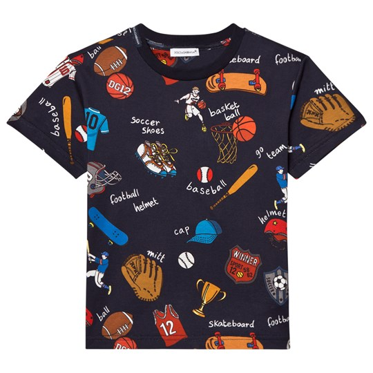 Dolce & Gabbana Navy Sports Cartoon Print Tee HBC62
