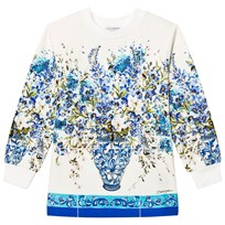 Dolce & Gabbana Floral Long Sleeve Tee White and Blue HAD10