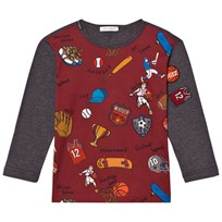 Dolce & Gabbana Sports Cartoon Print Long Sleeve Tee Red and Grey HRC62