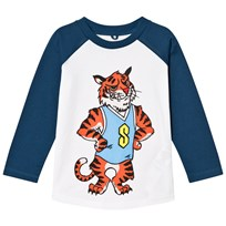 Stella McCartney Kids Tiger Print Max Tee White and Blue 9082