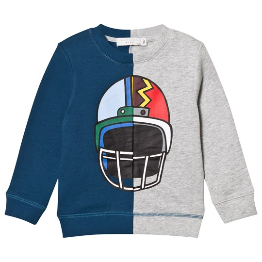 Stella McCartney Kids Blue and Grey Helmet Print Sweatshirt 1461