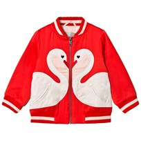 Stella McCartney Kids Willow Swan Patch Bomber Jacket Robin Red 6564