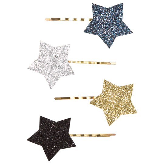 Molo 4-Pack Star Hair Clips Silver Gold