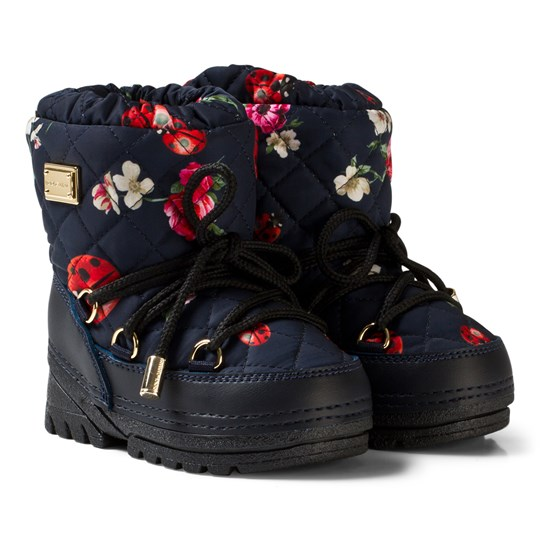 Dolce & Gabbana Navy Flower Print Snow Boots with Branded Plaque HBE95