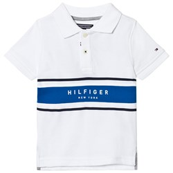 Tommy Hilfiger White and Blue Branded Polo