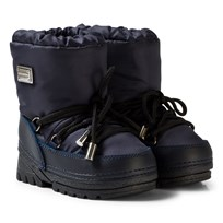 Dolce & Gabbana Navy Snow Boots with Branded Plaque 80650