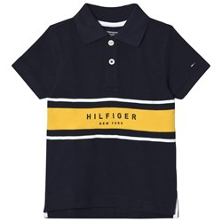 Tommy Hilfiger Navy and Yellow Branded Polo