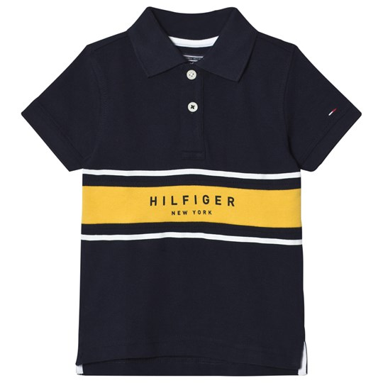 Tommy Hilfiger Navy and Yellow Branded Polo 431