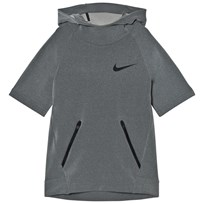 NIKE Grey Short Sleeve Hyper Hoodie DUST/PALE GREY