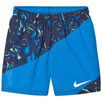 NIKE Blue Printed Running Shorts LT PHOTO BLUE/BLACK