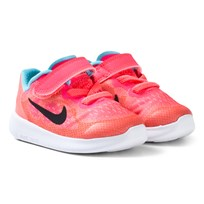 NIKE Pink Free Run 2 Infants Trainers RACER PINK/BLACK-LAVA GLOW-PURE PLATINUM
