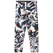 NIKE Graphic Print Crop Leggings Svart Black/White