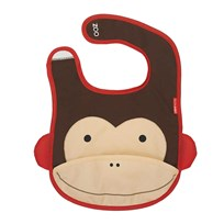 Skip Hop Zoo Tuck-Away Bib Monkey BROWN