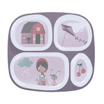sebra Melamine Plate W/4 Rooms Farm Girl Pink