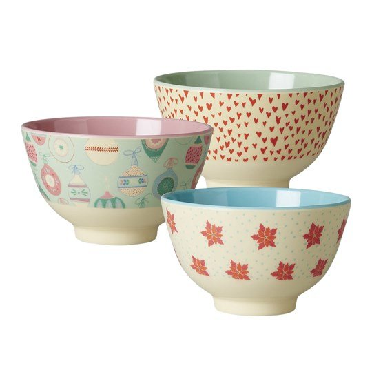 Rice Small Melamine Bowl w 3 ass Christmas Prints Ass.