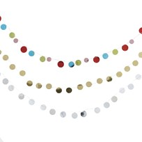 RICE A/S 3 m Sequin Garland in ass Colors Silver/Gold/Multi