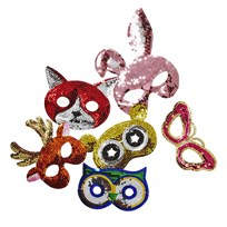 RICE A/S Kids Sequin Masks in 6 Assorted Designs Multi