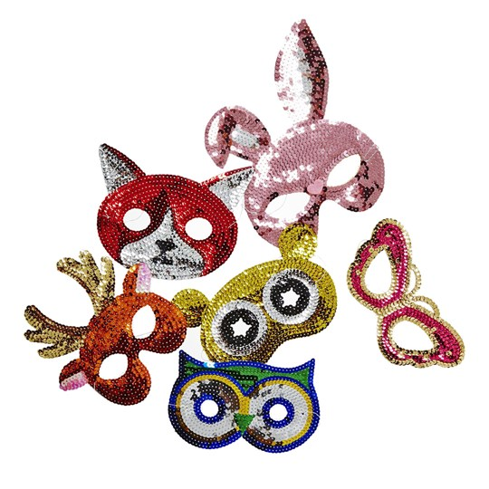 Rice Kids Sequin Masks in 6 Assorted Designs Multi