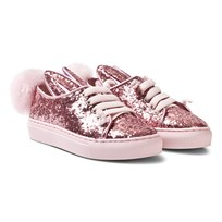 Minna Parikka Rose Glitter Shearling Tail Sneaks Mini Trainers Rose Glitter Shearling