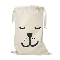 Tellkiddo Sleeping Bear Fabric Bag White