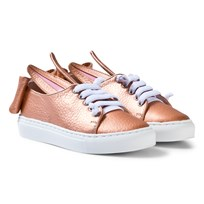 Minna Parikka Exclusive Rose Gold Nappa Leather T Bow Mini Trainers Rose Gold