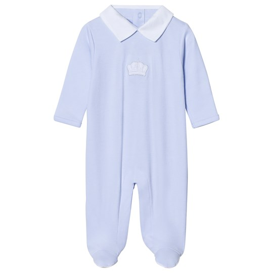 Kissy Kissy Light Blue Crown Applique Footed Baby Body LB